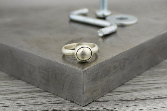 Silver on Silver Ring Silver Squared ring Modern by TempestSociety