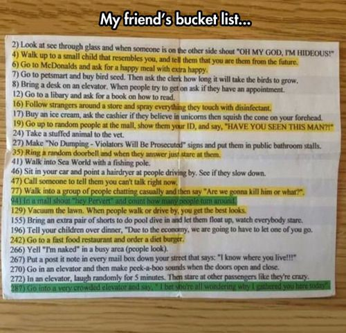 Bucket List!! XD ♡  number 266 and the first green one are definitely a no though!!!!