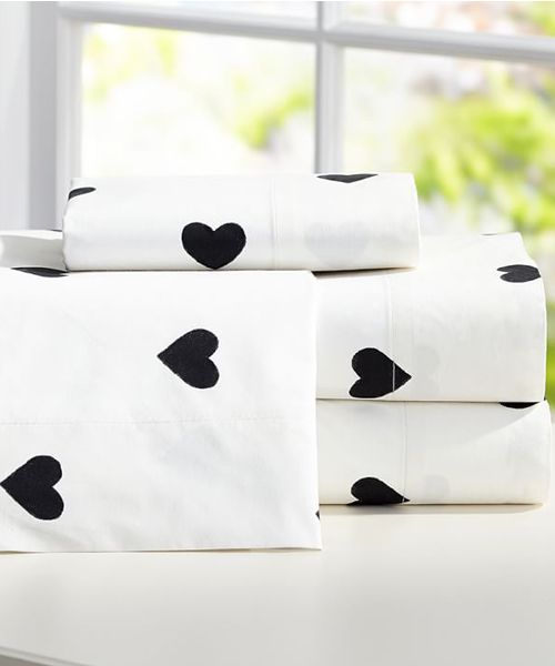 Heart Sheets The Emily + Merritt Heart Sheets Set: Sleep to your heart's content surrounded in the cozy comfort of our sheet set that's specially finished for superior softness. It's designed exclusively for PBteen by celebrity stylists and fashion designers Emily Current and Meritt Elliott.