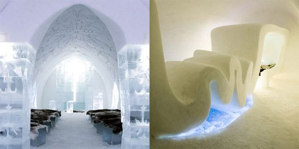 Ice Hotel in Jukkasjärvi, Sweden is built annually from the frozen waters of the River Torne.
