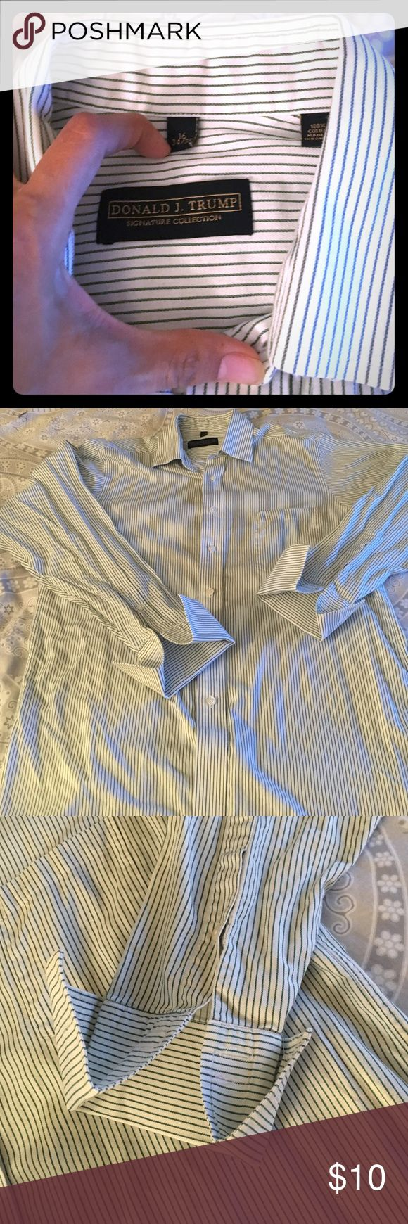 Donald J Trump shirt 16 34/35 size . New . 100% cotton . The only imperfection that has show in pic 4 . Not noticeable at all . New never been washed or worn . Donald J Trump Shirts Dress Shirts