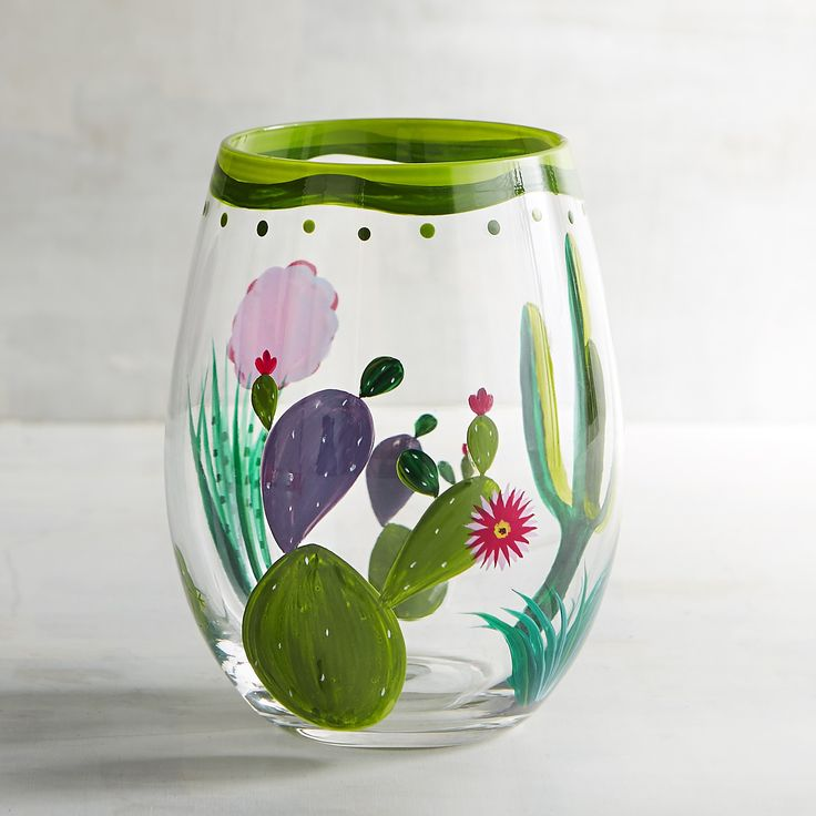 Cactus Painted Stemless Wine Glass