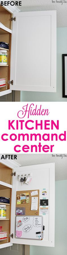 Hidden kitchen command center!  Non-permanent so it's perfect for homeowners OR renters! DIY command center to organize your family life.