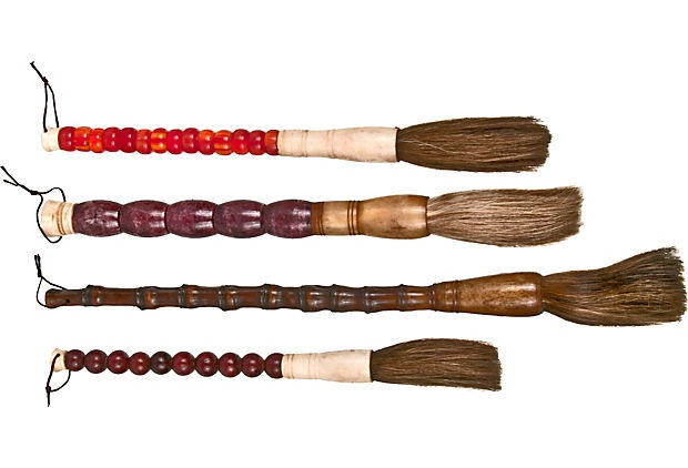 Set Of Four Chinese Calligraphy Brushes With Horsehair