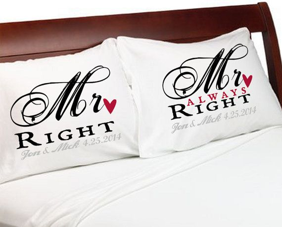 MR Right & MR Always Right Gay Couple Pillowcases Personalized Wedding Lovers Anniversary Valentines Gift Love Heart w/o the date just to make it less cheesy