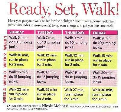 Get Back Into Walking... I might give this kind of a routine a try.  I like adding something more physically demanding for a short period of time like the jumping jack or the jogging in place