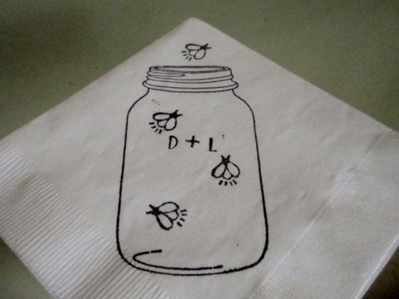 Rustic White Mason Jar Firefly Wedding Personalized Cocktail Napkins with initials- set of 50 on Etsy, $15.00