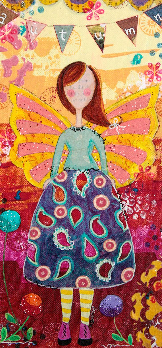 Angel Angel painting autumn mixed media angel by ArtByAlisaSteady
