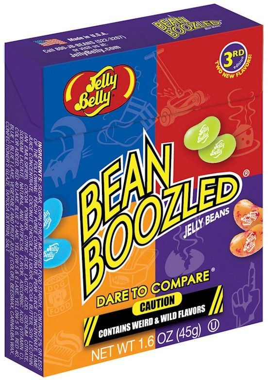 BeanBoozled Jelly Beans box come in 20 flavors, 10 weird and wild flavors matched up with 10 look-alike tasty flavors. Is the white jelly bean Coconut, or is it Baby Wipes? Perhaps the green bean is lawn clipping flavor, or maybe it's delicious Lime. You might not know when you will be bamboozled by a weird flavor. A key on the back of each box gives clues to the surprises found inside, but the beans look so similar, every bite will be a surprising dare.