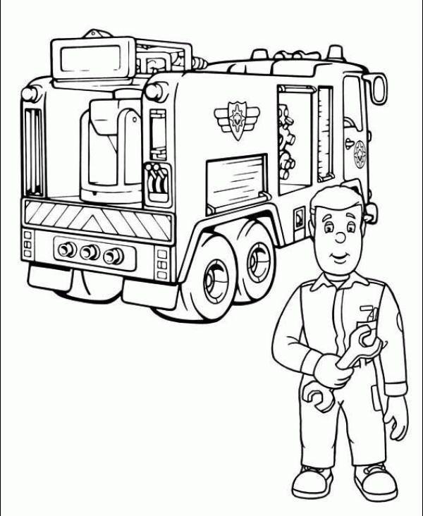Coloreaza Plansa de colorat pompierul sam repara masina de pompieri #plansedecolorat #coloringpages #kids #kidscoloringpages #copiisimamici