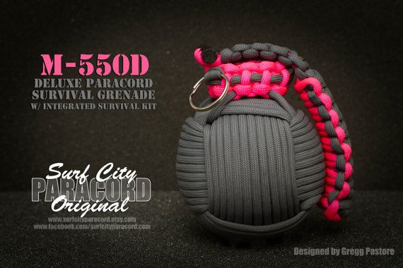 Grey/Pink M-550D Deluxe Paracord Survival Grenade (with integrated survival kit)