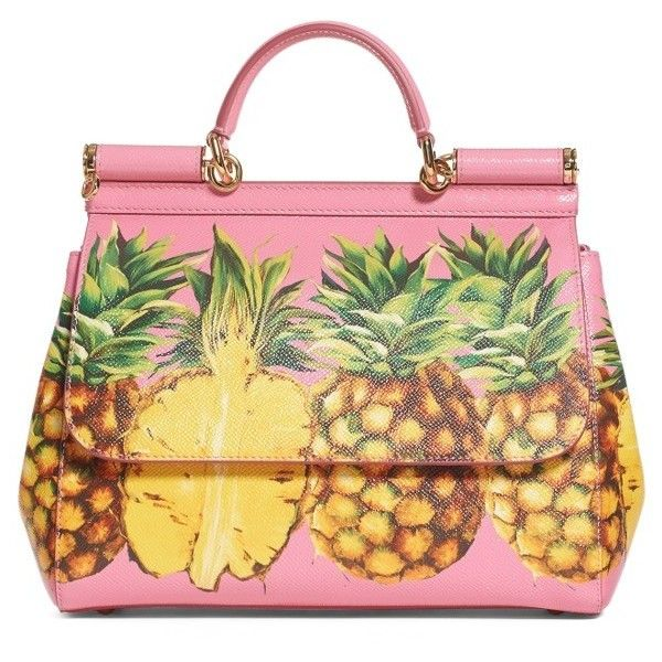 Women's Dolce&gabbana Miss Sicily Pineapple Leather Satchel (£2,050) ❤ liked on Polyvore featuring bags, handbags, pink pineapples, pink leather handbags, pink purse, satchel handbags, leather tote and leather satchel