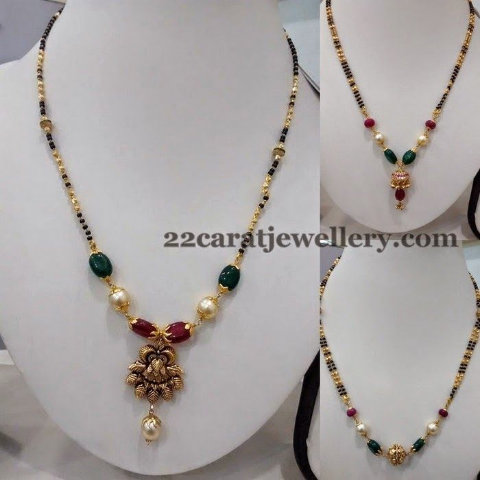 Jewellery Designs: Simple Black Beads Necklaces