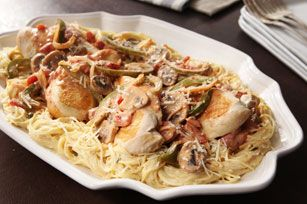 Our classic chicken cacciatore, served over a bed of creamy, cheesy angel hair, can be made—start to finish—in just 20 minutes.