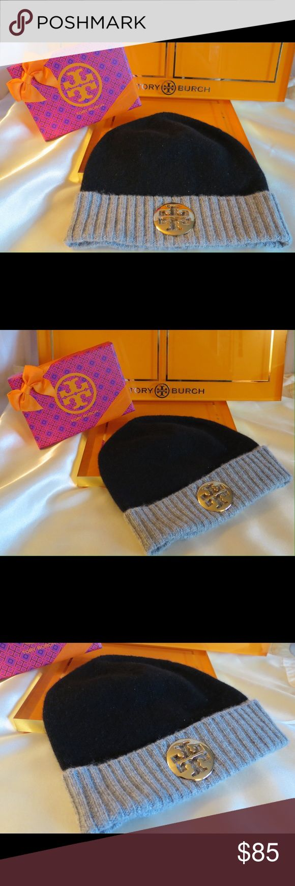 NEW Tory Burch 100% Cashmere Hat Gold Logo NEW Tory Burch 100% Cashmere Hat Gold Logo  Brand NEW Without TAGS! Tory Burch + Gift Box  Fabulous black and gray soft luxury cashmere!!  The box was for something else, it's a bit small for the hat but it does fit and think it's a nice thing to include for you!  All of my items are Guaranteed 100% Genuine I do not sell FAKES of any kind!  No Trades  (01J007) Tory Burch Accessories