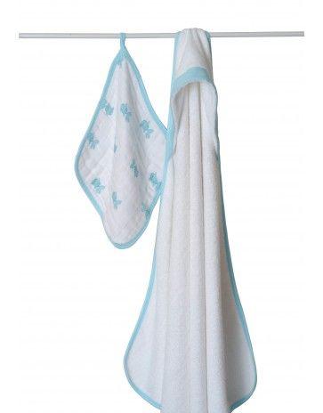 aden + anais bubble towel & wash cloth set - hide & sea