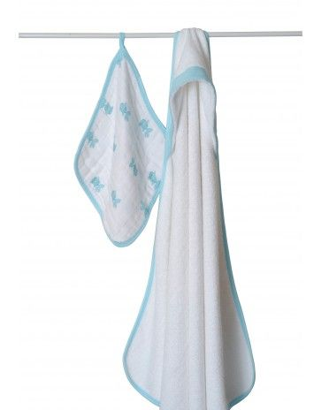 aden + anais bubble towel & wash cloth set - hide & sea