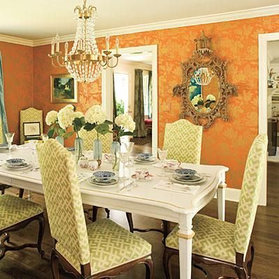 Orange And Gold Dining Room