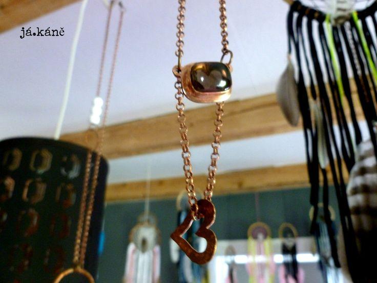 heart necklace, crystal necklace, copper boho jewelry , smoky crystal necklace by jakanestudio on Etsy