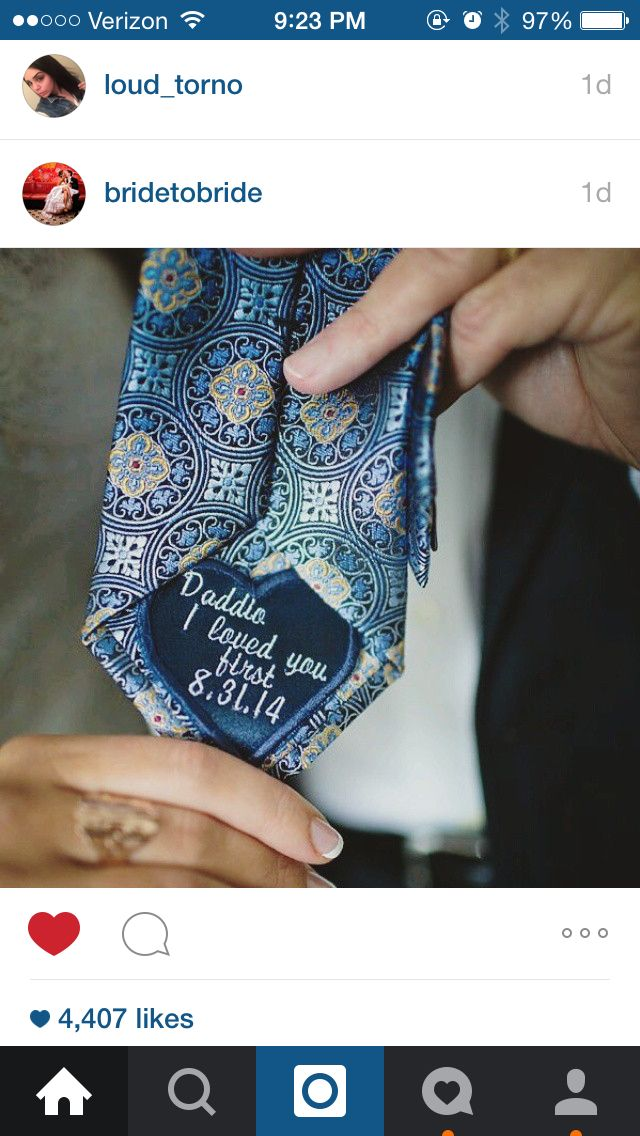 I really want to do this for my Daddy Dearest! It helps that he likes to wear ties for work too <3:-) a nice little present from bride to father on her wedding day!