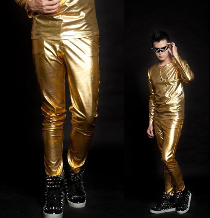 Stage personality men pants gold pant men silver trousers singer dance rock fashion pantalon homme street star style novelty