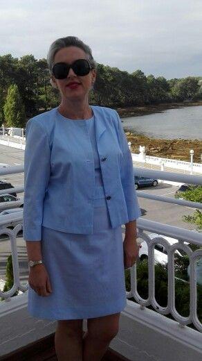 Conjunto vestido e jaqueta. By Alda Faria