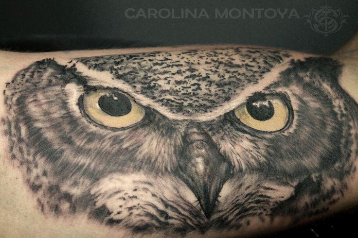 Owl tattoo by Carolina Montoya  #owl #owltattoo #bng #blackandgreytattoo #tattoo #tatuaje #buho #buhotattoo