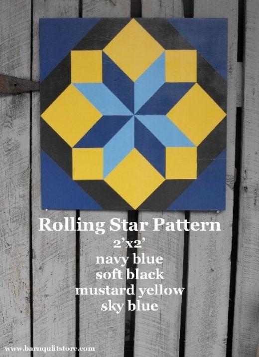 barn quilt patterns | Barn Quilt, Rolling Star Pattern