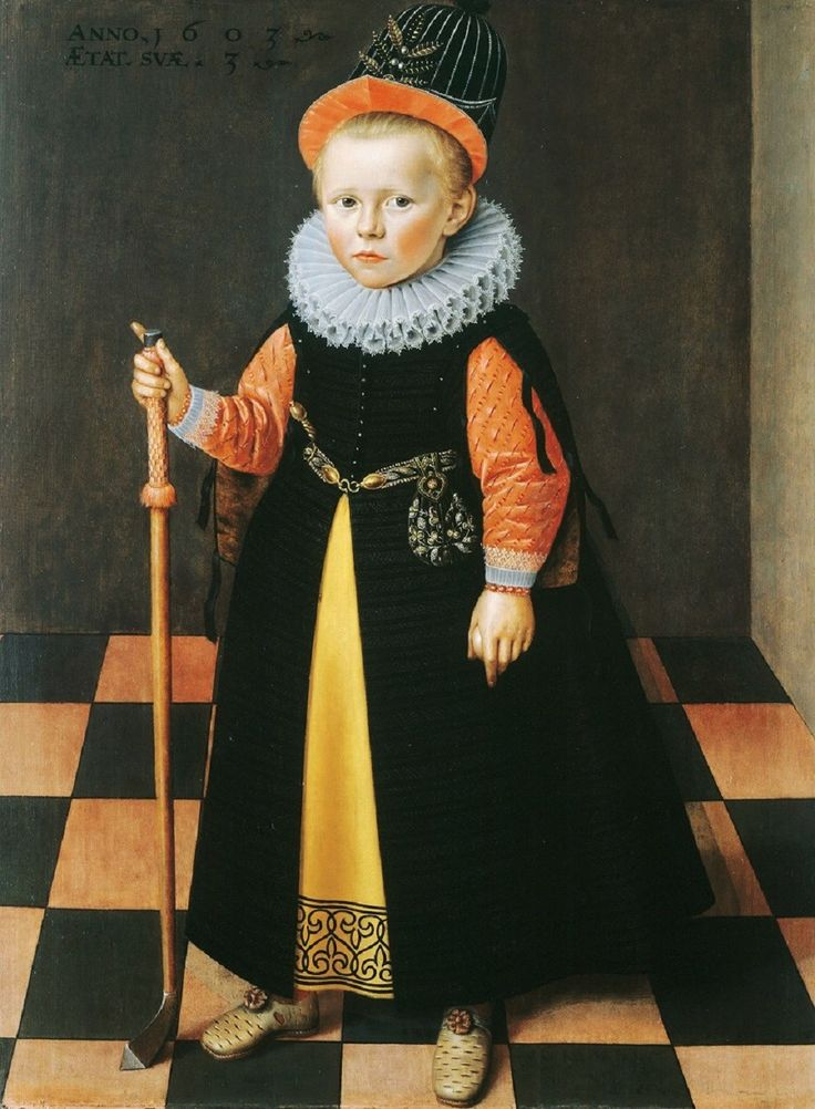 1603 Attributed to Adriaen van der Linde (Dutch artist, 1560-1609) Three-Year-Old Boy with Colf Stick
