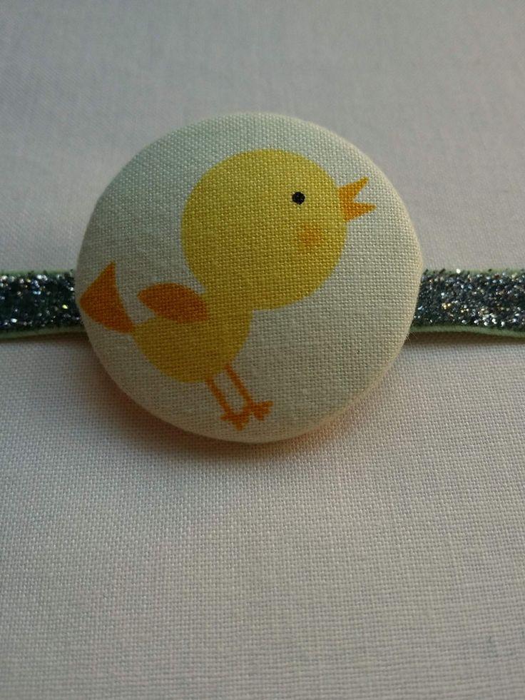Daisy Coloured Retro Bird Button Bobble Hair Tie    Cute and glittery!  Artisan made in beautiful Byron Bay Australia. www.jularoo.com