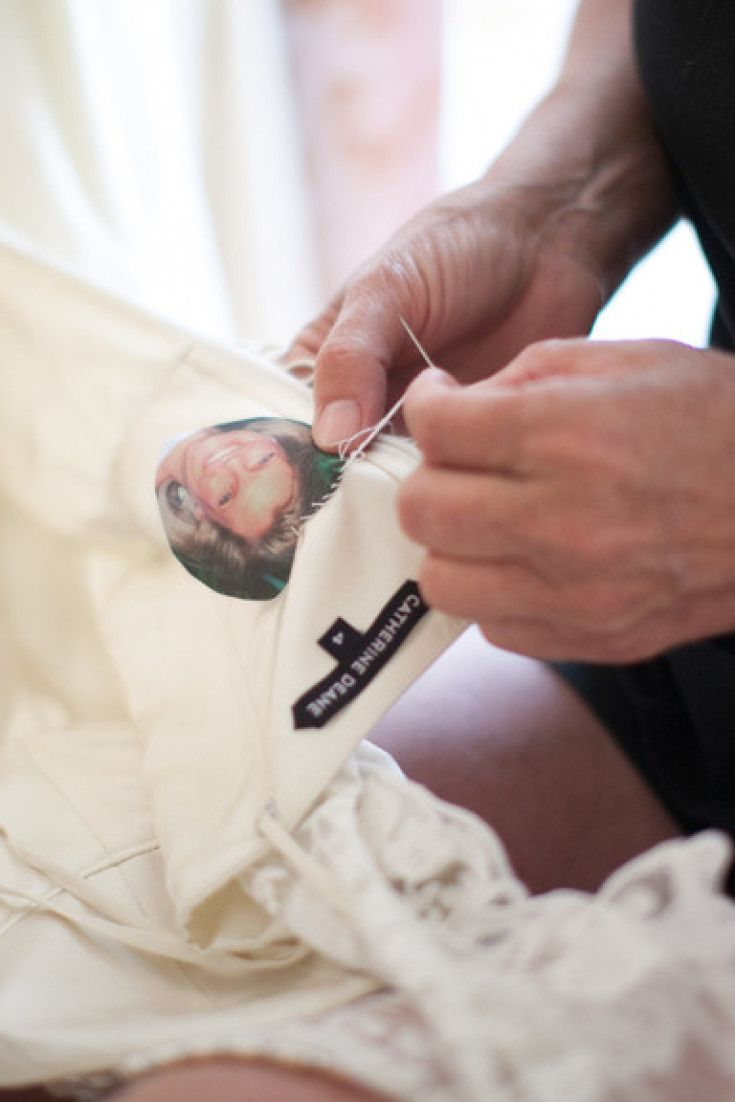 Sew a cherished picture of a lost loved one into your wedding gown | Lauren Balingit via Style Me Pretty