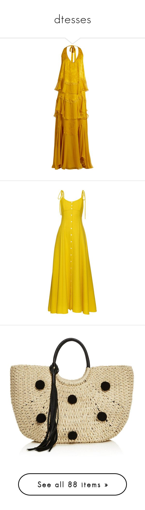 """""""dtesses"""" by julz28520 ❤ liked on Polyvore featuring dresses, gowns, long dresses, gold, halter evening gowns, open back gown, long yellow dress, open back dresses, open back long dresses and vestidos"""