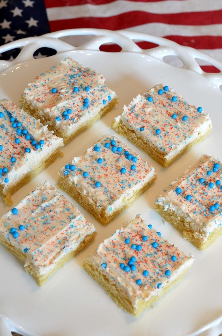 Bless This Mess: Patriotic Sugar Cookie Bars: Desserts, Sweet, Blue Sugar, Food, Recipes, Patriotic Sugar, 4Th Of July, Sugar Cookie Bars, Red White