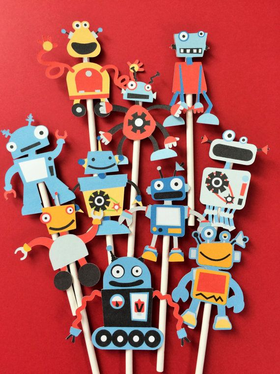 10 Robots cupcake toppers robot birthday party by Fairfable