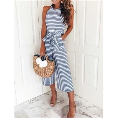 Striped printed high waist jumpsuits and rompers Women sleeveless jumpsuit with belt 2018 Summer new wide leg pants playsuits