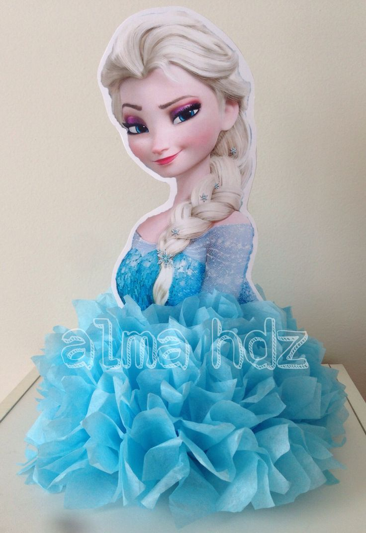 Frozen birthday party idea, Elsa centerpiece with tissue paper pom pom - Frozen Centro de Mesa                                                                                                                                                                                 Más