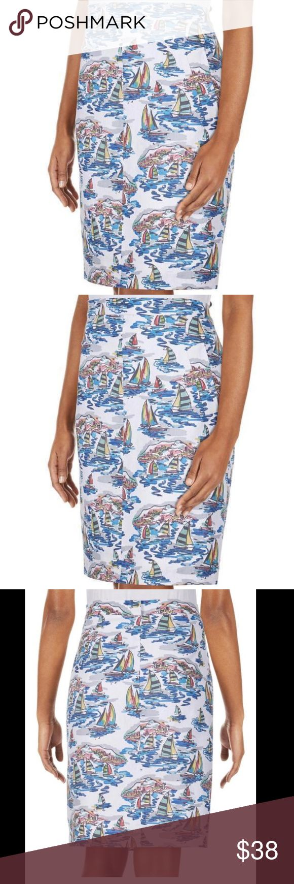 ⛵️NWT NINE WEST⛵️SAILBOAT PRINTED SKIRT⛵️ NWT woven linen cotton construction styled in a preppy sailboat print feels totally chic for summer. This totally chic pencil skirt by Nine West. It's fully lined and finished with two front 😍pockets😍 and back hidden zipper with two eye and hook closures. 53% linen 47% cotton lining 100% acetate. Nine west calls this Skirt  sweet escape Havana multi. Measured flat waist 15 1/2 inches hips 19 inches length 23 inches Nine West Skirts Midi