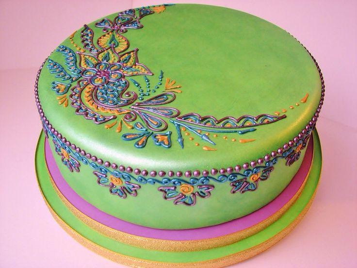 Mehndi Cushion Cake : Mehndi design cake makedes