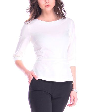 Another great find on #zulily! White Linen-Blend Boatneck Top #zulilyfinds