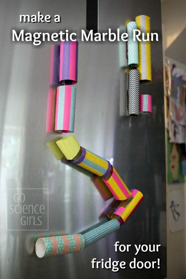 Magnetic marble run for your fridge door - fun science project for kids! A great way to spend a rainy day!  Magnet4sale.com/neodymium magnets