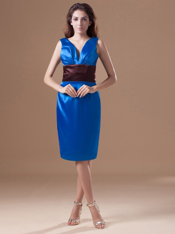 Satin V-neck Knee Length Ruching Sleevesless Sheath/Column Lace-up Cocktail Dress at nextdress.co.uk