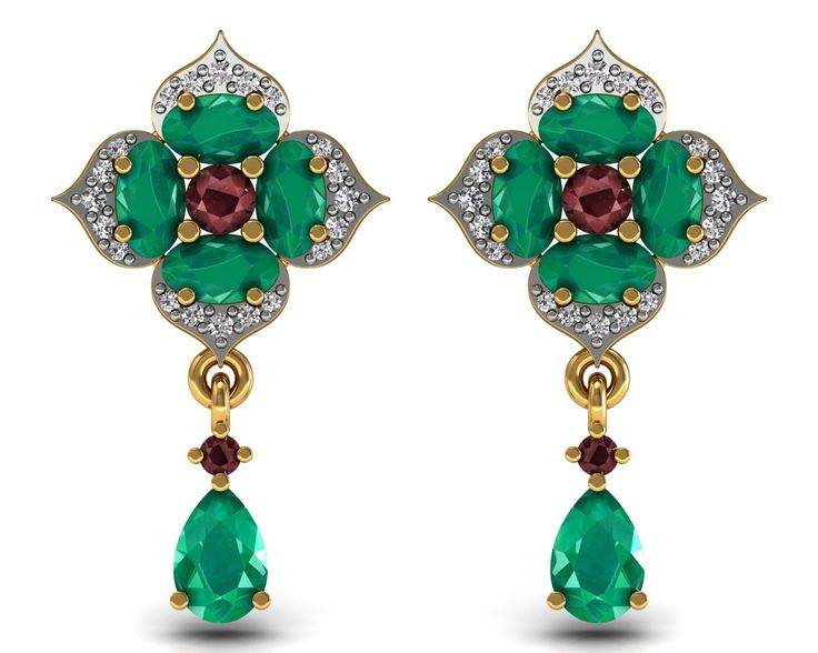 Floral Dangle Earrings 18k Solid Gold Ruby Emerald Certified Diamond Jewelry