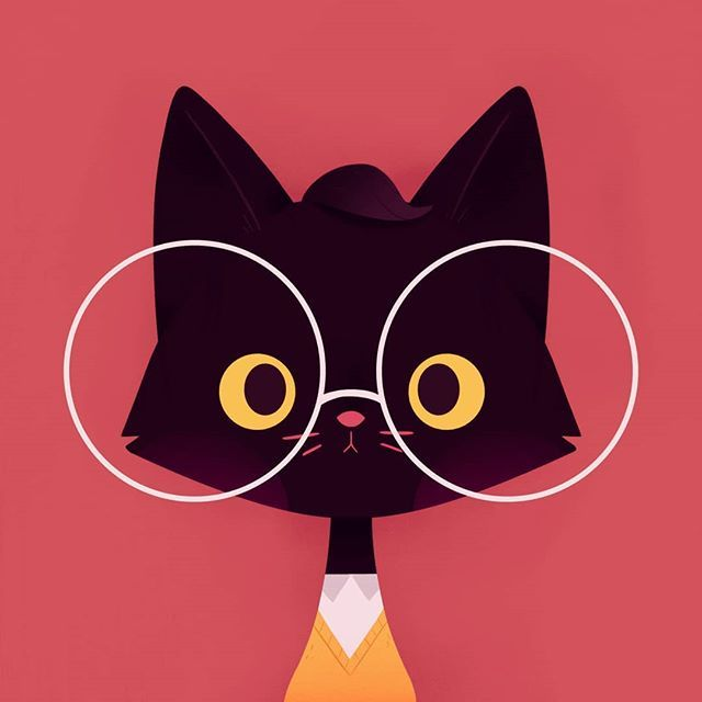 Cat Art Cartoon Drawing Illustration Blackcat Simple Glasses Profilepic Catsofinstagram Inst Cartoon Cat Drawing Simple Cat Drawing Cats Art Drawing