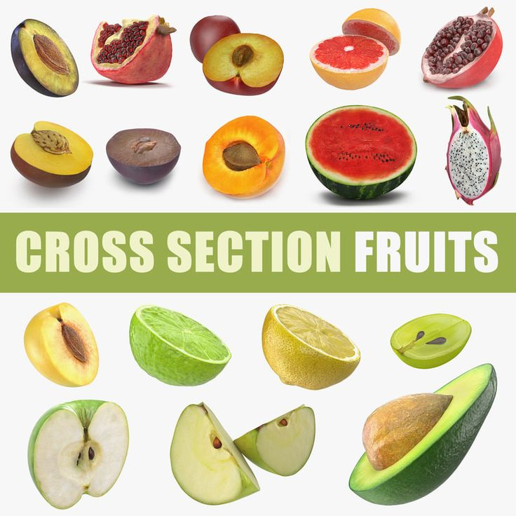 Cross Section Fruits Collection 4 3D model
