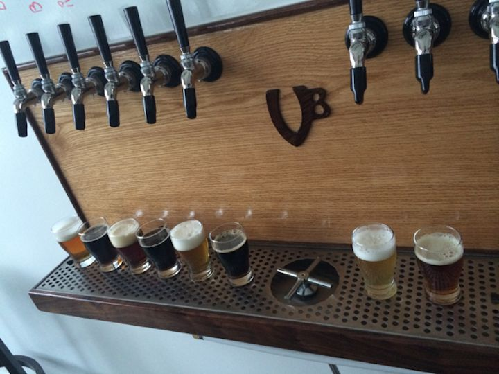 a list of beers currently on tap at the brewery