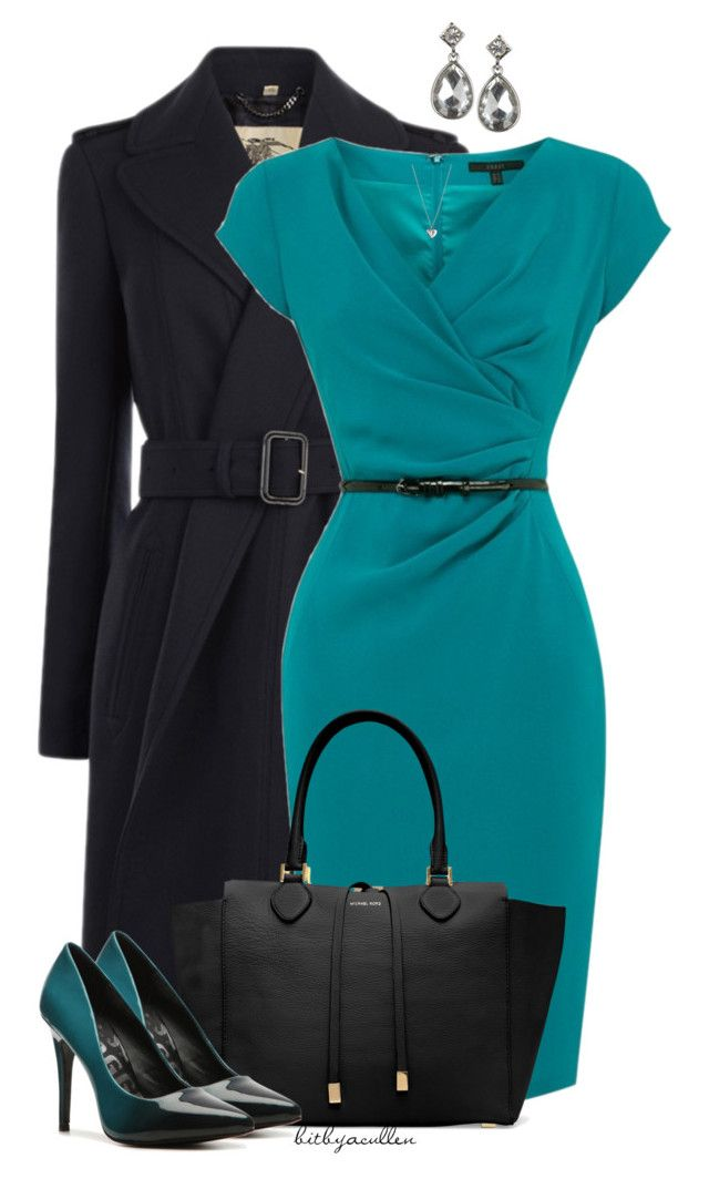 """""""Dressy in Teal"""" by bitbyacullen ❤ liked on Polyvore featuring Burberry, Coast, Michael Kors, Monsoon, Kelsi Dagger Brooklyn and Georg Jensen"""