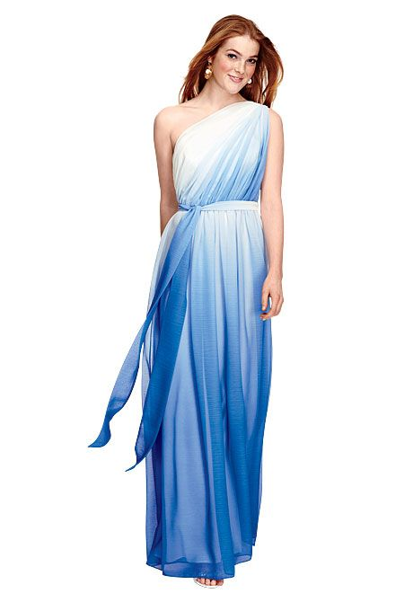 Dessy collection one shoulder blue ombre bridesmaid dress for Ocean themed wedding dress