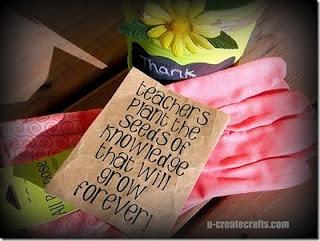 Cute teacher gift - Pot, seeds, gardening gloves, artificial flower, ribbon & a paper bag. Easy Peasy.