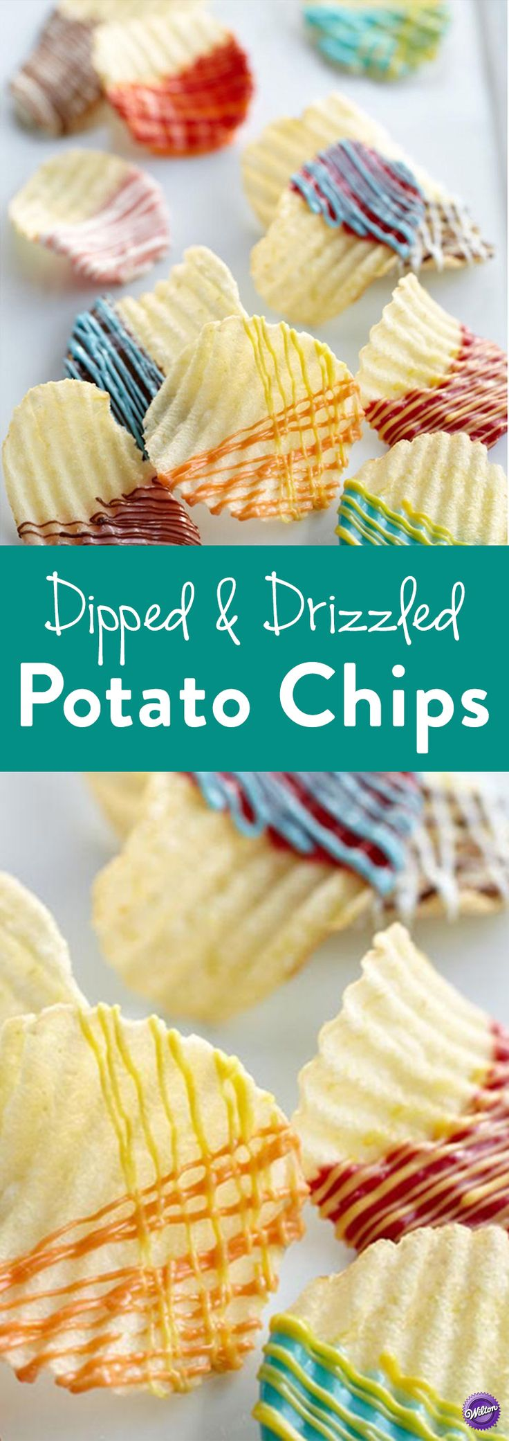 How to Make Dipped & Drizzled Potato Chips - This is such an easy party snack! Wilton Candy Melts candy gives your favorite ruffled chips that extra touch of color to go with the crunch and creates a great salty-sweet combination.