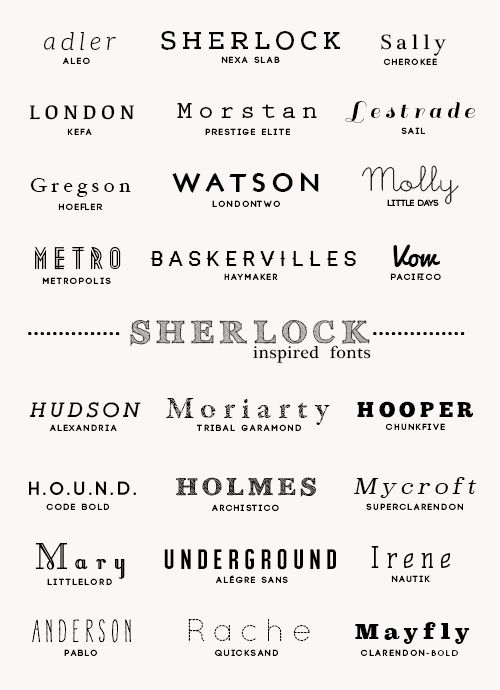 24 Sherlock Themed Fonts - inspired by this post.  download full pack here  1. aleo  2. nexa slab  3. plantagenet cherokee  4. kefa  5. pre...